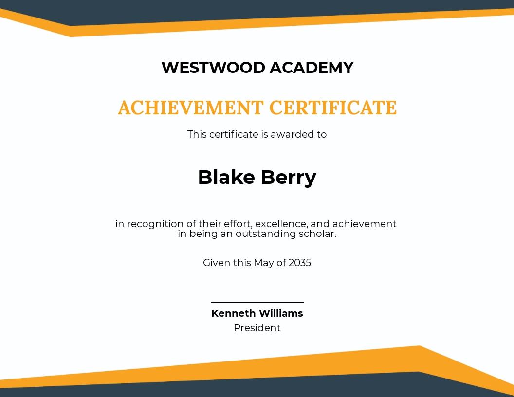 Academic Achievement Excellence Certificate Template