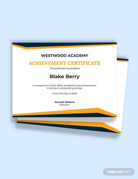 Academic Achievement Excellence Certificate Template