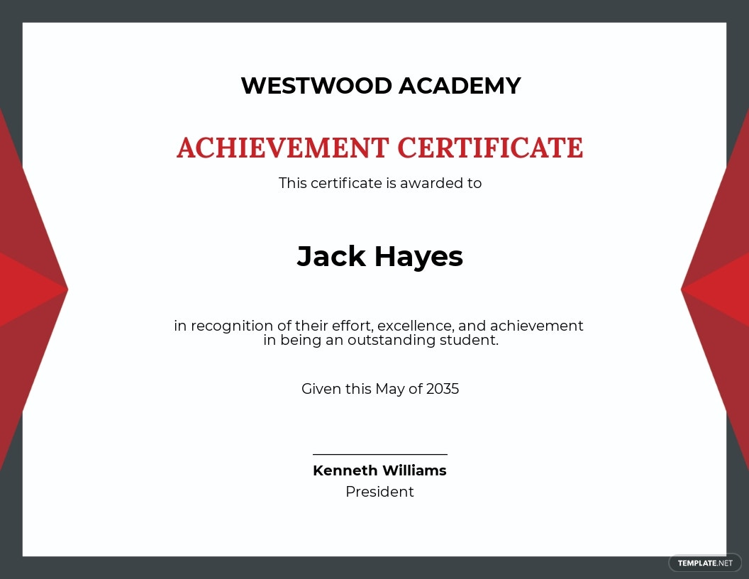 Recognition Academic Achievement Certificate Template