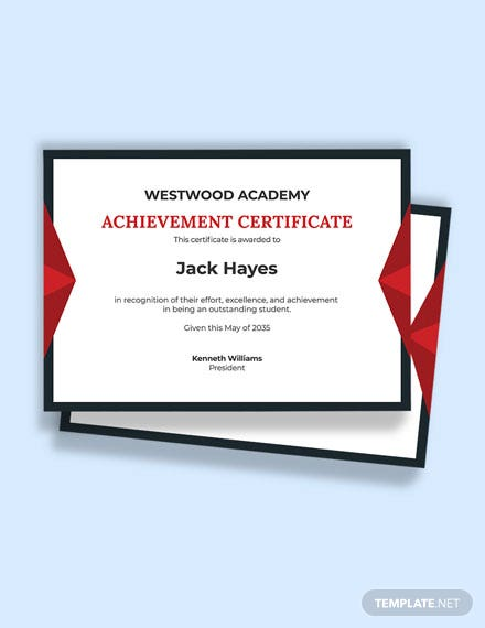 Recognition Academic Achievement Certificate Template
