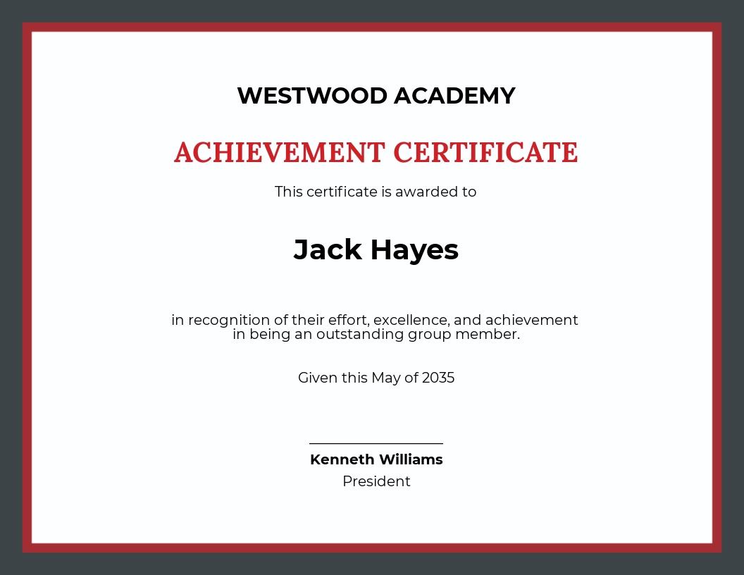 Academic Team Achievement Certificate Template