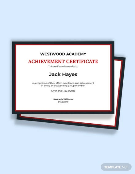 Academic Team Achievement Certificate Template