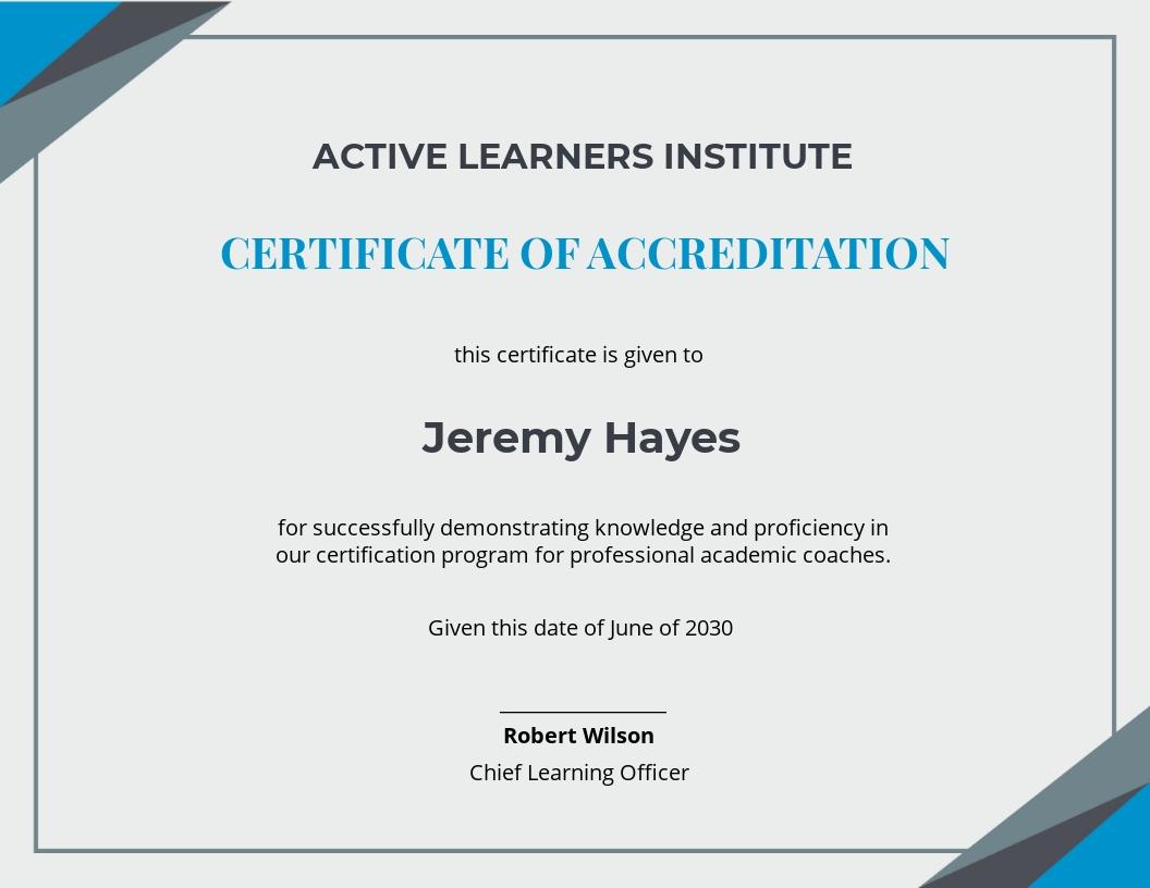 Academic Coaching Certificate Template