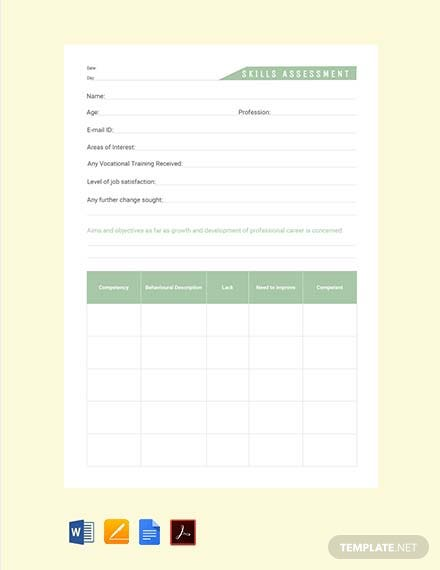 Free Skills Assessment Template