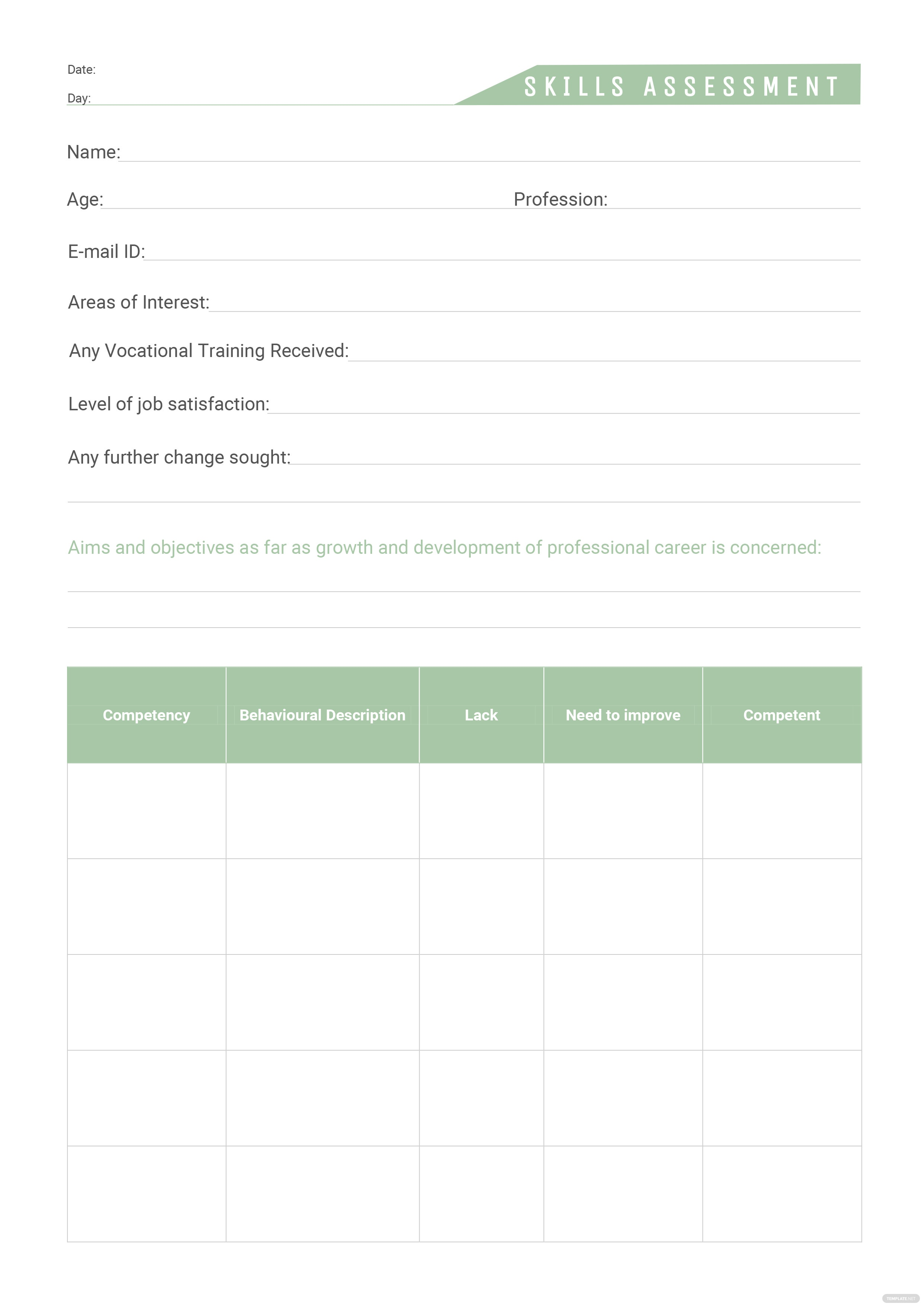 Erfreut Skills Assessment Template Zeitgenössisch - FORTSETZUNG ...