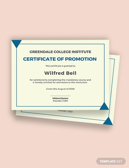 Academic Certificate of Promotion Template