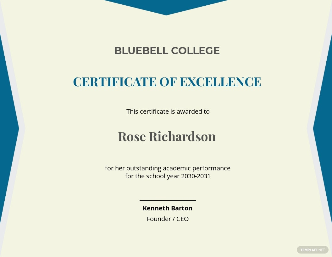school academic certificate Template