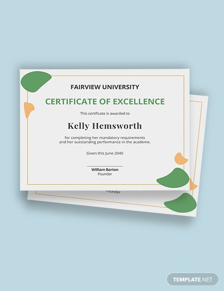 Certificate of Recognition for Academic Excellence Template