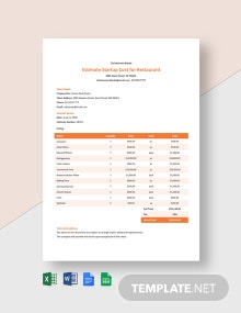 Editable Estimate Startup Cost for Restaurant Template