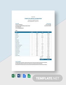 Start Up Capital Estimation Template