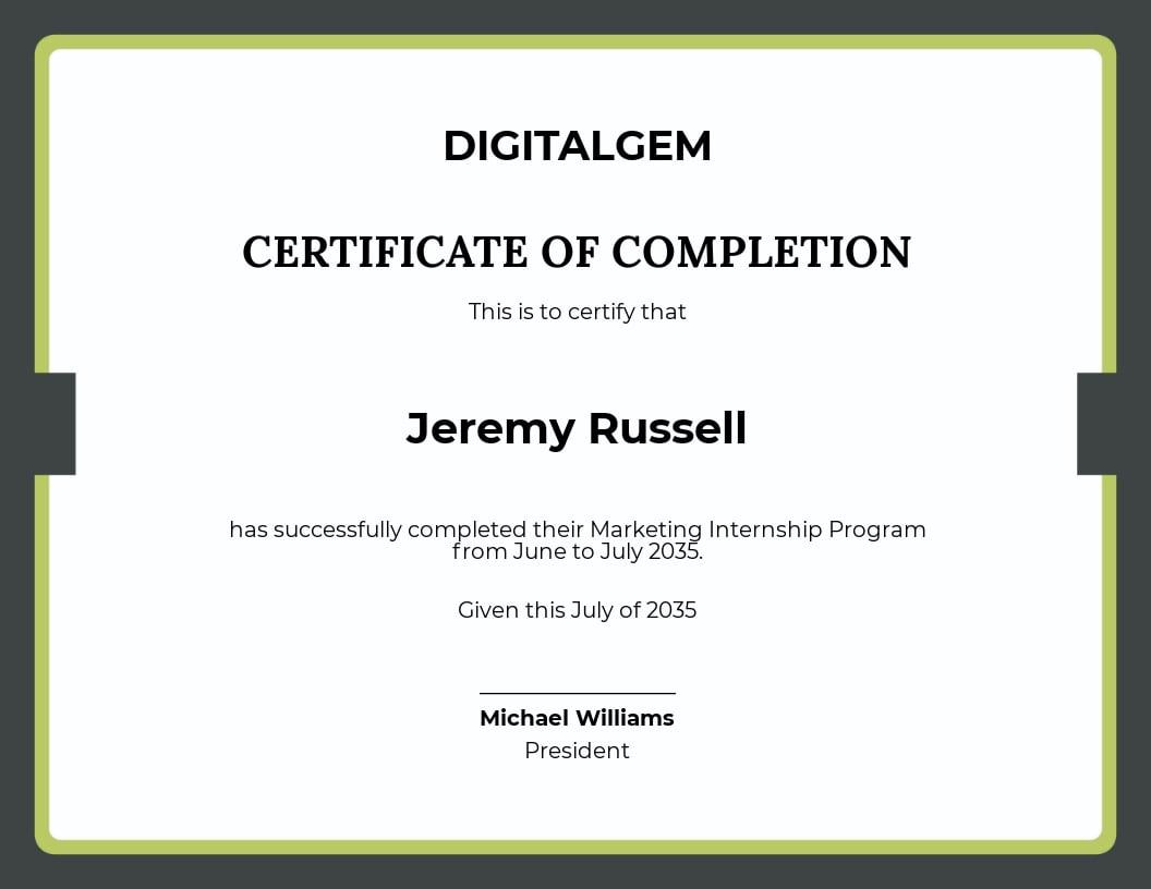 Marketing Internship Certificate Template