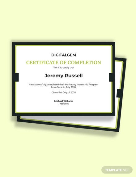 Marketing Internship Certificate Template
