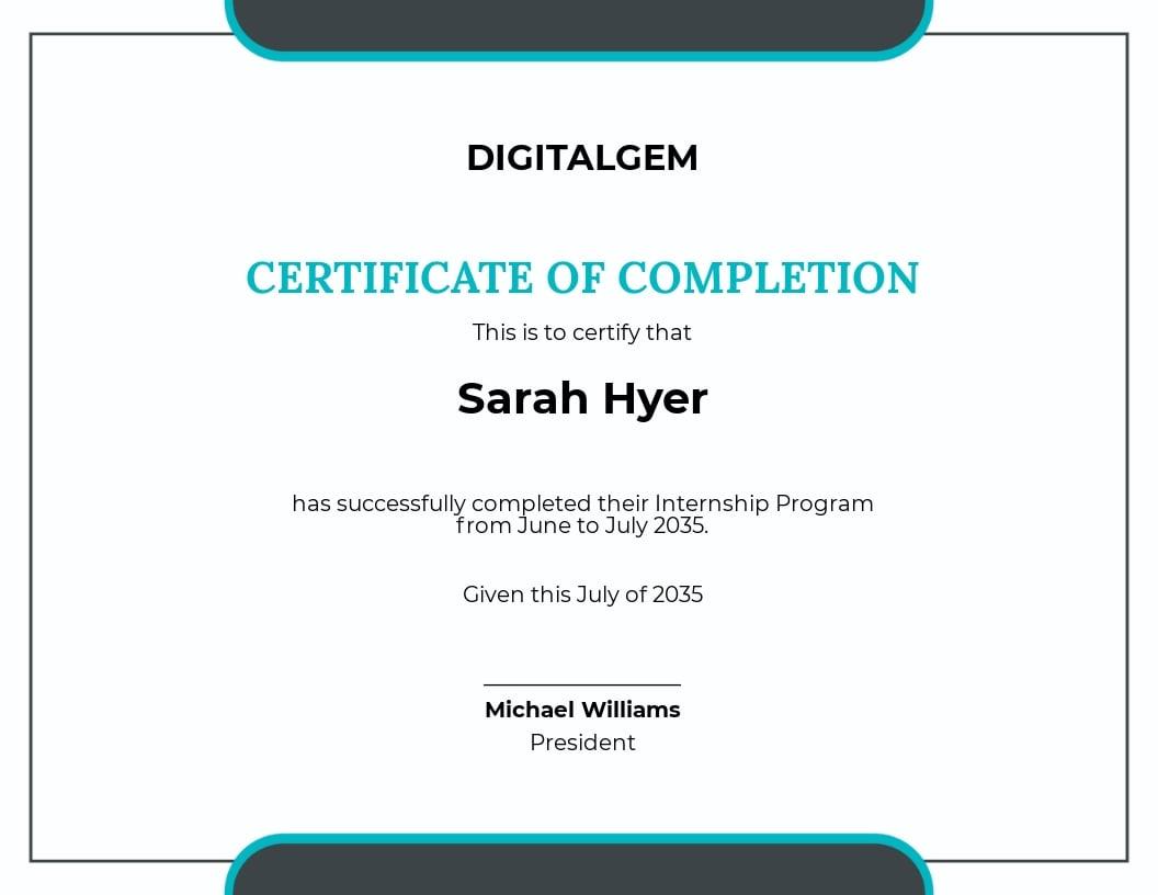 Summer Internship Certificate Template