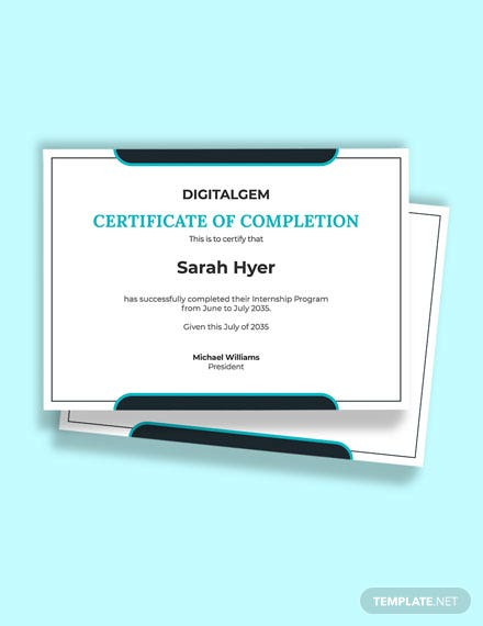Summer Internship Certificate Template