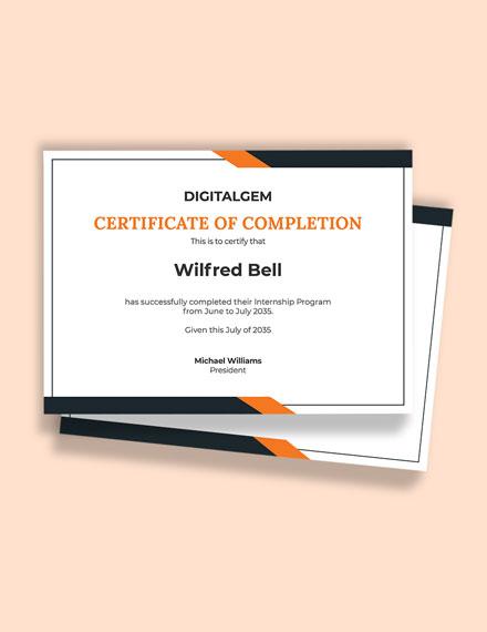 Internship Experience Certificate Template