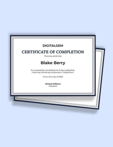 Leadership Coaching Certificate Template