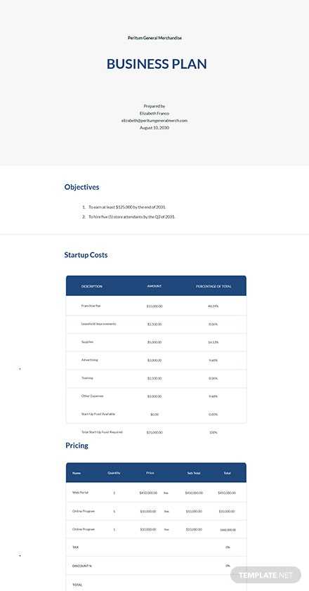 Sample Startup Plan Template