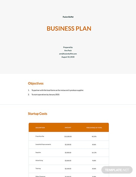 Simple Startup Business Plan Template