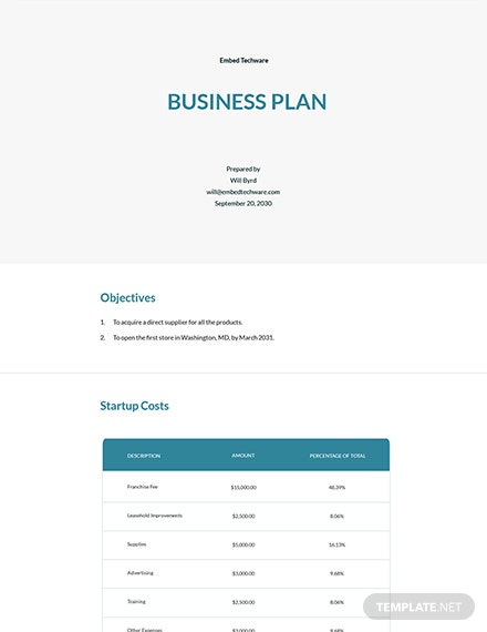 Free Startup Business Plan Template