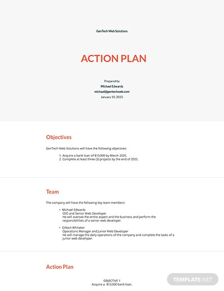 Startup Company Action Plan Template