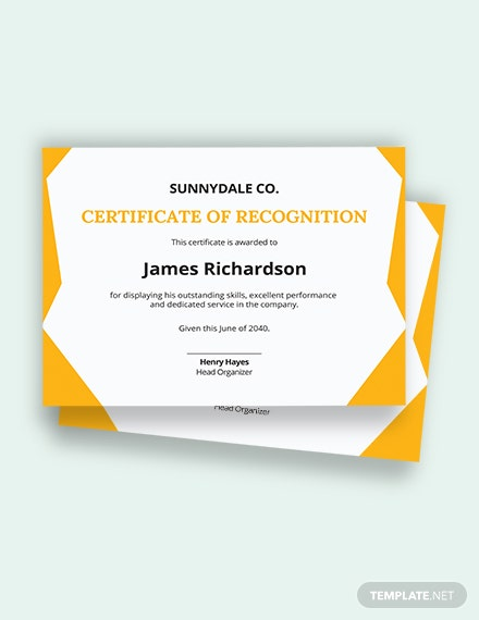 Free Certificate of Recognition in Performance Template