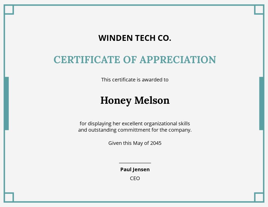 performance appreciation certificate Template