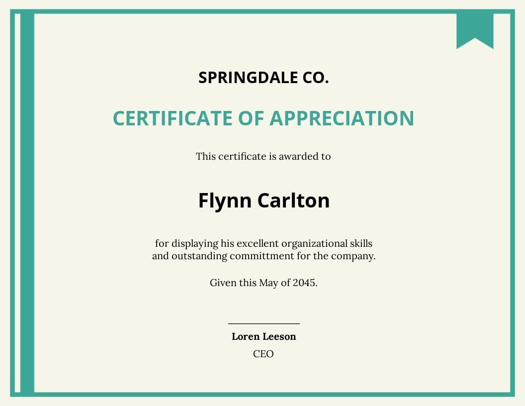 performance award certificate Template
