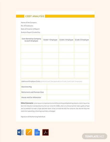Free Cost Analysis Template