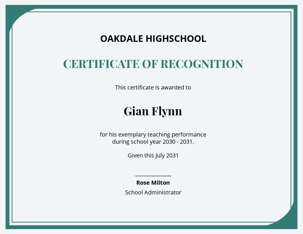 Teaching Performance Certificate Template