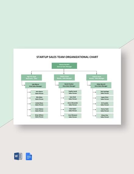 Startup Sales Team Organizational Chart Template