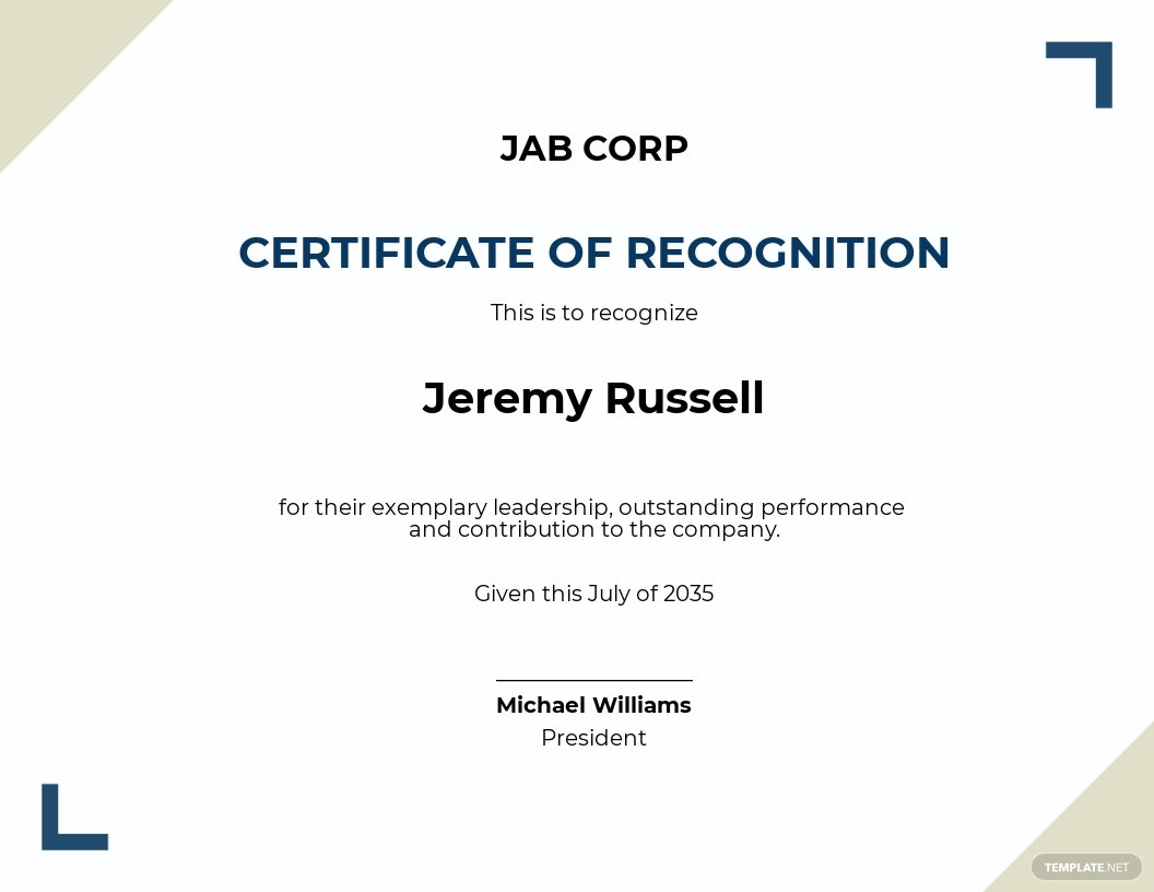 Recognition Leadership Award Certificate Template