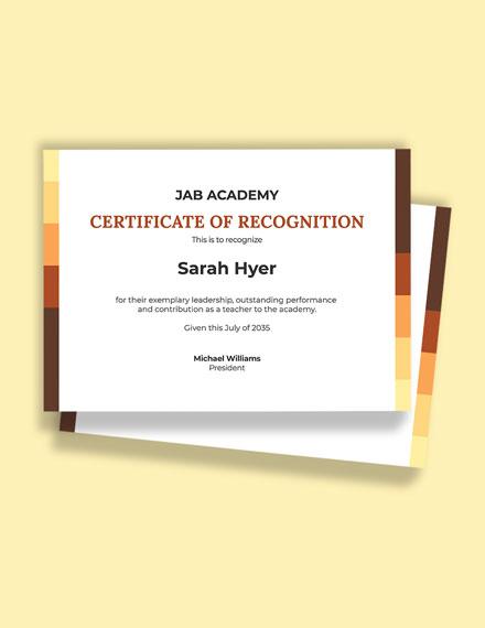 Academy Leadership Certificate Template