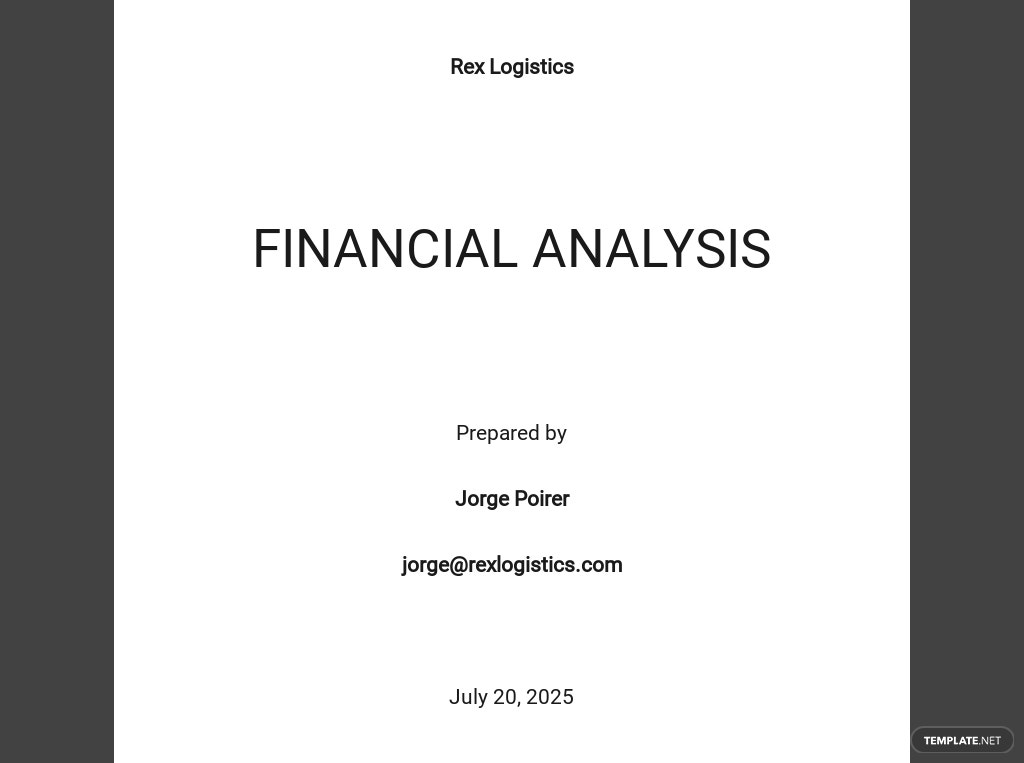 Free Financial Analysis Template
