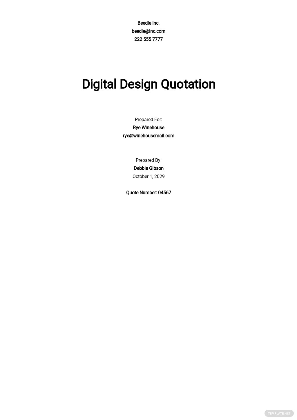 Business Quotation Sample Template