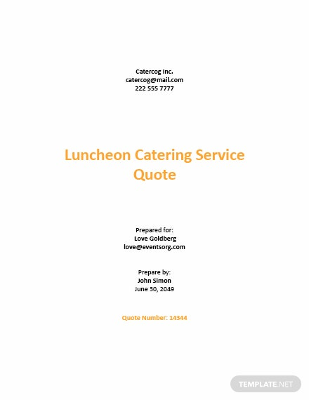 Request for Quotation for Catering Services Template