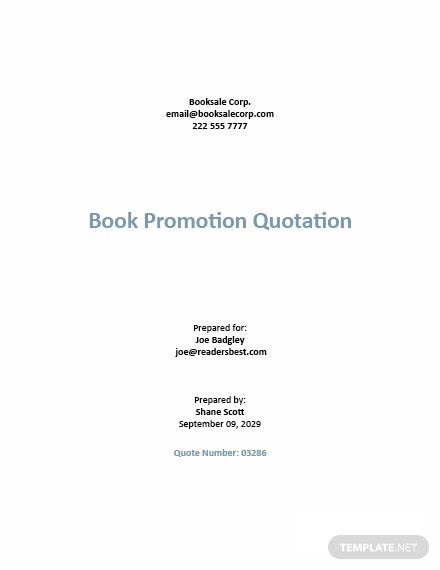 Sample Sales Quotation Template