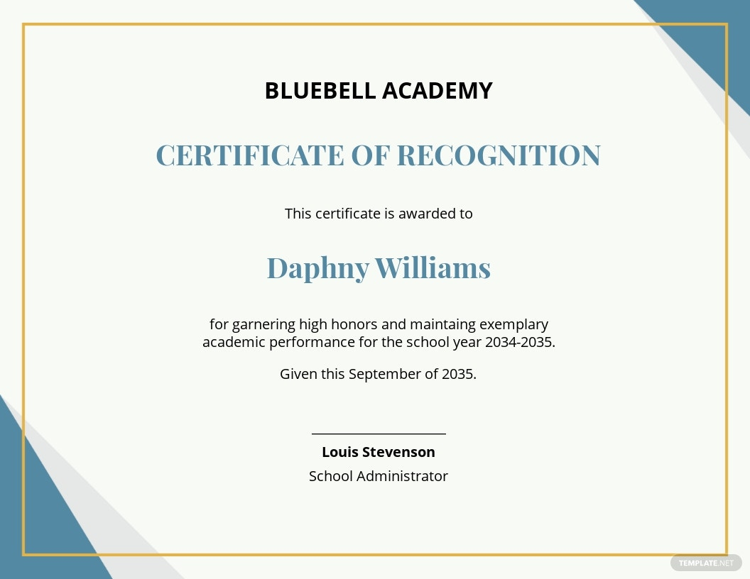 Free Recognition Academic Excellence Certificate Template