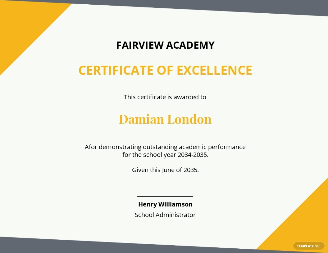 academic excellence certificate awards for students template