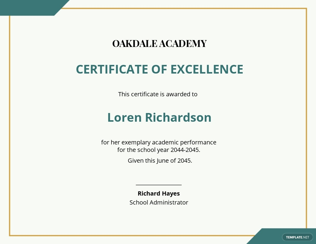 Academic Education Excellence Award Certificate template