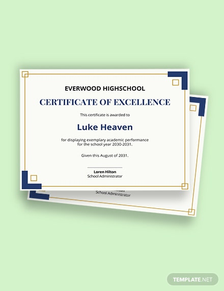 high school academic excellence certificate template