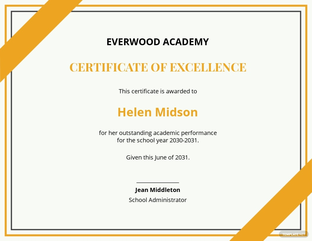 sample academic excellence certificate template