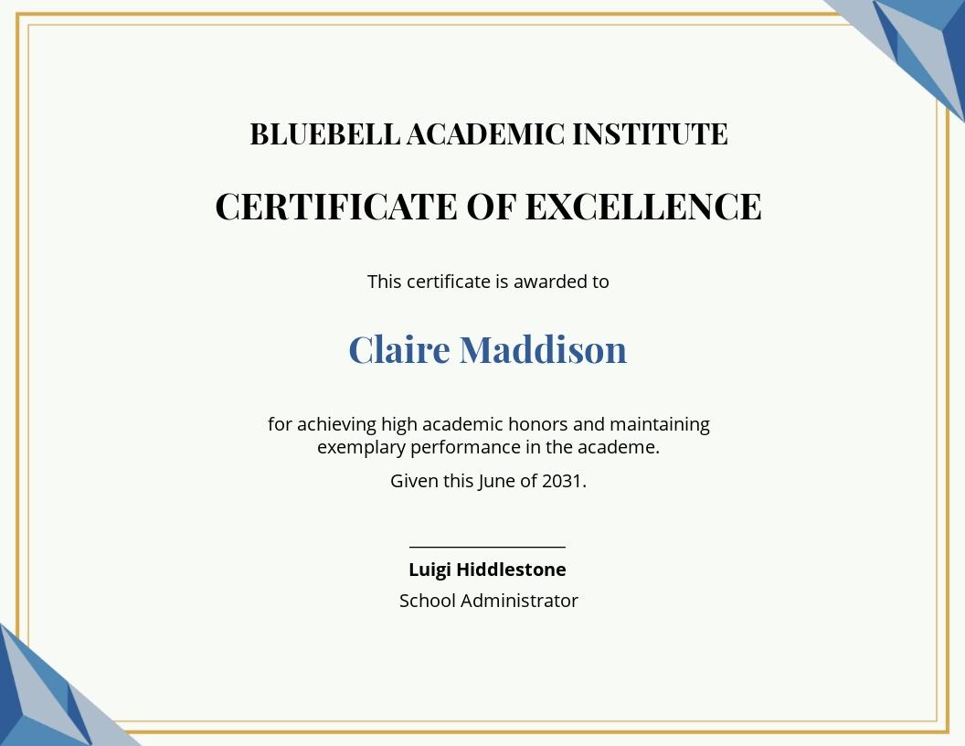 Free Printable Academic Achievement certificate template.jpe