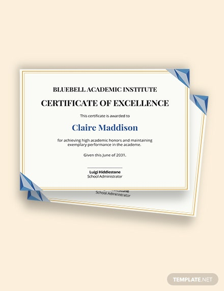 Free Printable Academic Achievement certificate template