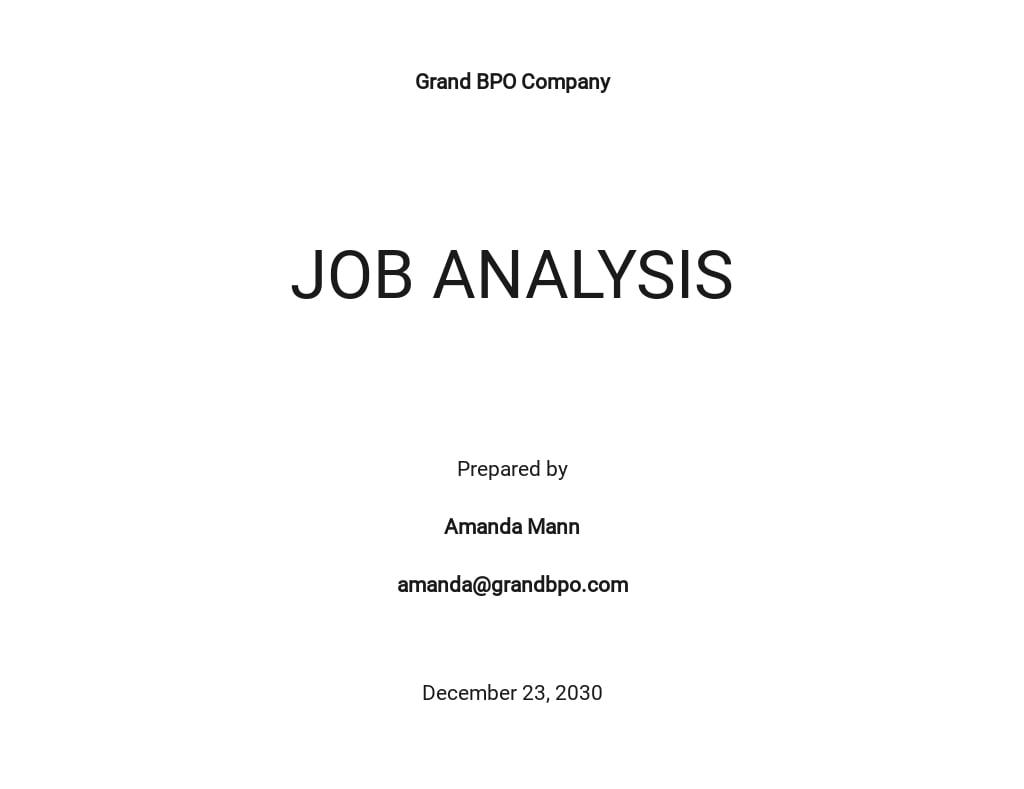 Free Job Analysis Template
