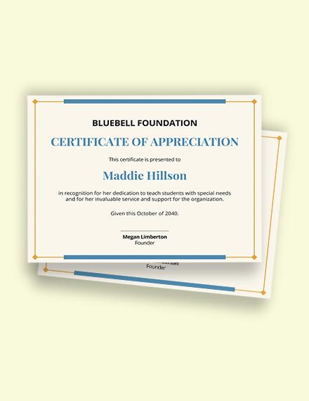 volunteer teaching certificate sample template