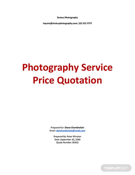 Service Price Quotation Template