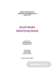 Social Media Marketing Quotation Template