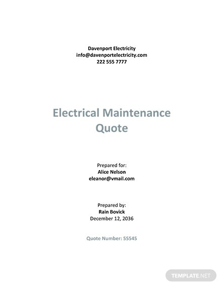 Sample Electrical Quotation Template
