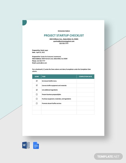 Editable Project Startup Checklist Template