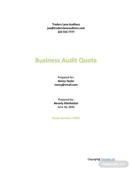 Sample Audit Quotation Template